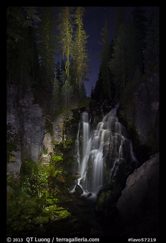 Kings Creek Falls and trees at night. Lassen Volcanic National Park (color)