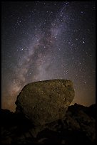 Glacial erratic boulder and Milky Way. Lassen Volcanic National Park ( color)