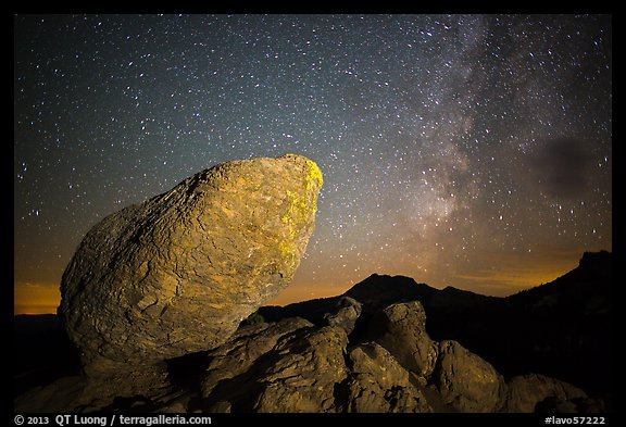 Glacial erratic, Mt Brokeoff, and Milky Way. Lassen Volcanic National Park (color)