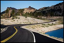 Road near Lake Helen. Lassen Volcanic National Park, California, USA.