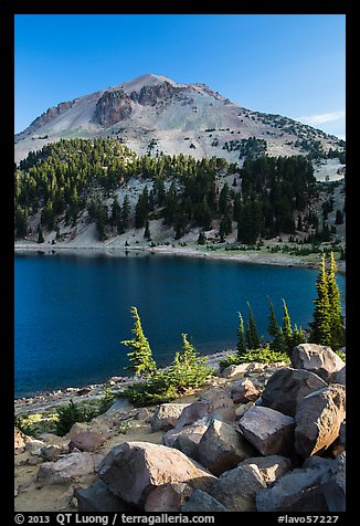 Lake Helen and Lassen Peak, late summer. Lassen Volcanic National Park (color)