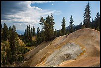 Hill with mineral deposits, Sulphur Works. Lassen Volcanic National Park ( color)