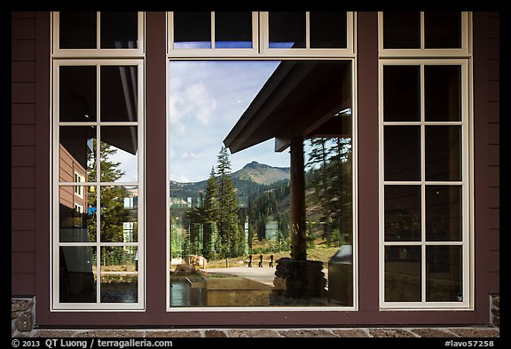 Brokeoff Mountain, Visitor Center window reflexion. Lassen Volcanic National Park (color)