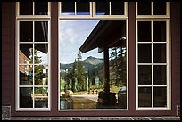 Brokeoff Mountain, Visitor Center window reflexion. Lassen Volcanic National Park ( color)