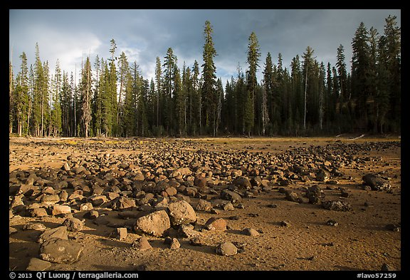 Boulders in dried lake. Lassen Volcanic National Park (color)