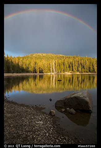 Rainbow and boulder, Juniper Lake. Lassen Volcanic National Park (color)