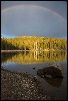 Rainbow and boulder, Juniper Lake. Lassen Volcanic National Park ( color)