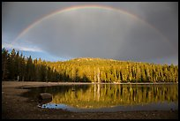 Stormy sky and rainbow, Juniper Lake. Lassen Volcanic National Park ( color)