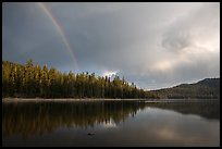 Rainbow and clearing storm, Juniper Lake. Lassen Volcanic National Park ( color)