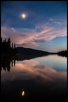 Moon and reflection at dusk, Juniper Lake. Lassen Volcanic National Park ( color)