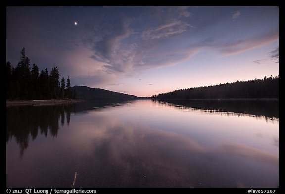 Moon and reflection, Juniper Lake. Lassen Volcanic National Park (color)