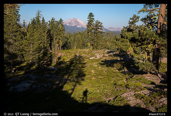 Lassen Peak from Inspiration Point with photographer shadow. Lassen Volcanic National Park (color)