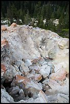 Colorful rocks in steam vent, Devils Kitchen. Lassen Volcanic National Park ( color)