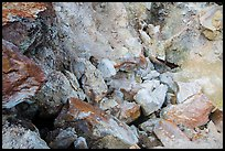 Close-up of rocks with red and yellow deposits, Devils Kitchen. Lassen Volcanic National Park ( color)