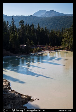 Shadows in Boiling Springs Lake and Lassen Peak. Lassen Volcanic National Park (color)