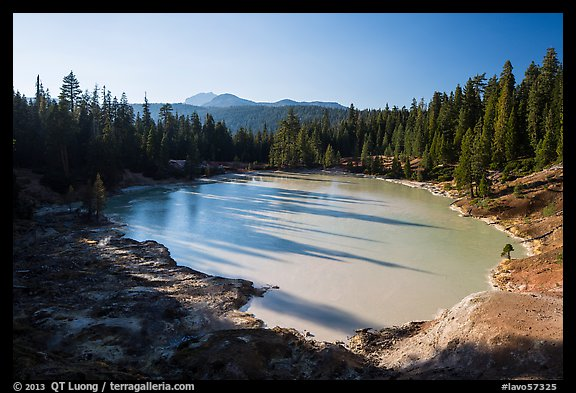 Boiling Springs Lake with long shadows in late afternoon. Lassen Volcanic National Park (color)