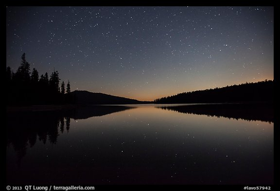 Juniper Lake at night after moonset. Lassen Volcanic National Park (color)