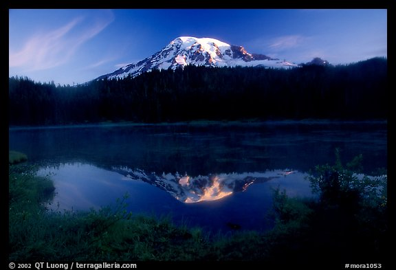 Mt Rainier reflected in Reflection lake at sunrise. Mount Rainier National Park (color)