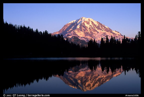 Mt Rainier with perfect reflection in Eunice Lake at sunset. Mount Rainier National Park (color)