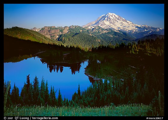 Eunice Lake seen from above with Mt Rainier behind, afternoon. Mount Rainier National Park (color)