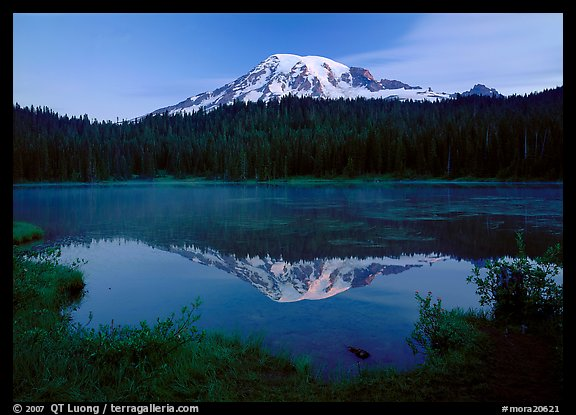 Mount Rainier reflected in Reflection Lake at dawn. Mount Rainier National Park (color)