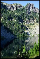 Cliffs reflected in Eunice Lake. Mount Rainier National Park ( color)