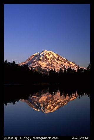 Mt Rainier reflected in Eunice Lake, afternoon. Mount Rainier National Park (color)