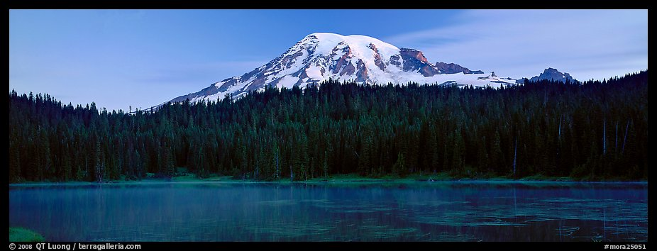 Lake, forest, and Mount Rainer at dawn. Mount Rainier National Park (color)
