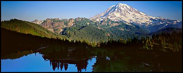 Lake and distant Mount Rainier. Mount Rainier National Park (Panoramic color)