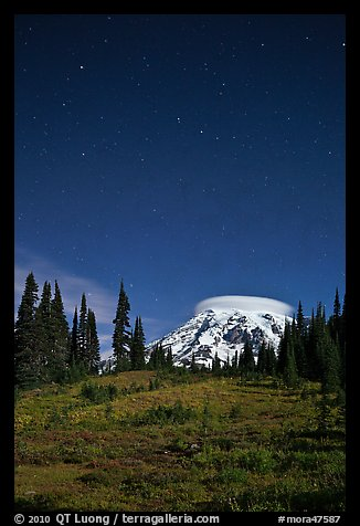 Mount Rainier and stars by night. Mount Rainier National Park (color)