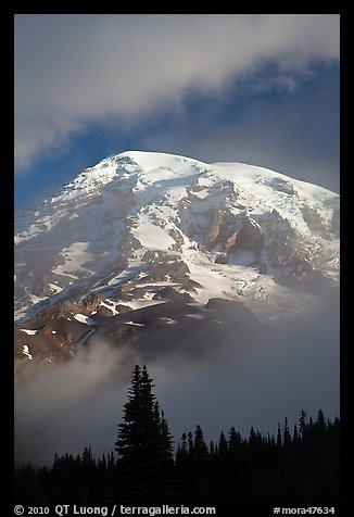 Mountain emerging from clouds. Mount Rainier National Park (color)