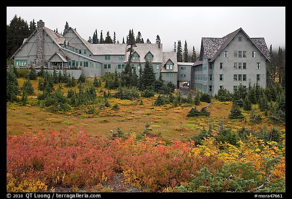 Paradise Inn in autumn. Mount Rainier National Park (color)