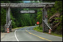 Park entrance gate. Mount Rainier National Park, Washington, USA.