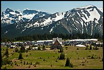 Meadows, buildings and parking lot, mountains, Sunrise. Mount Rainier National Park, Washington, USA. (color)