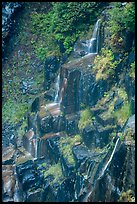 Cascades over columns of basalt, Narada Falls. Mount Rainier National Park ( color)