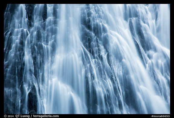 Section of Narada Falls with multiple water channels. Mount Rainier National Park (color)