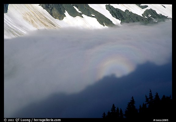 Sun projected on clouds filling Cascade River Valley,.  (color)