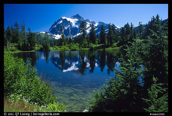 Mount Shuksan and Picture lake, mid-day. North Cascades National Park (color)