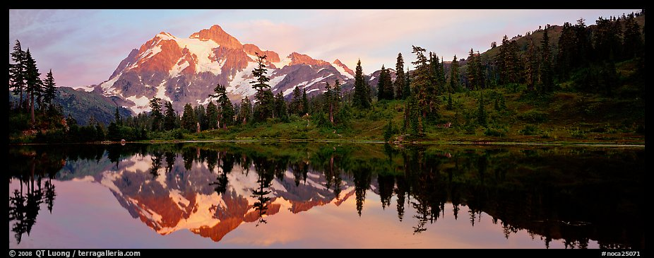 Miror reflection of Mount Shuksan.  (color)