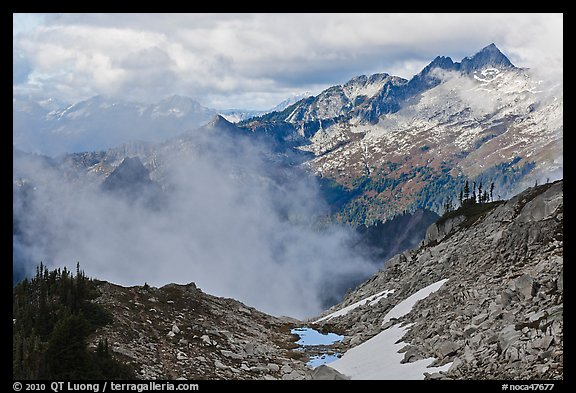 Mountains and clouds above South Fork of Cascade River, North Cascades National Park.  (color)