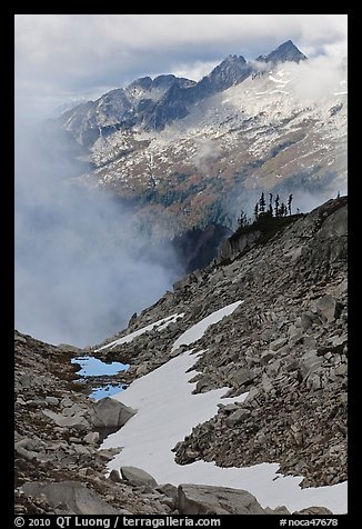 Alpine scenery in unsettled weather, North Cascades National Park.  (color)