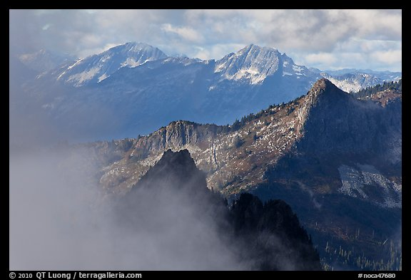 Mountain ridges and clouds, North Cascades National Park.  (color)