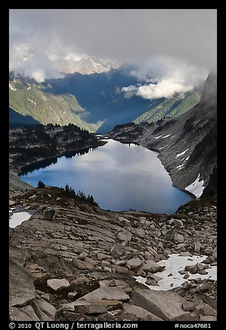 Hidden Lake below low cloud ceilling, North Cascades National Park.  (color)