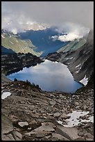 Hidden Lake below low cloud ceilling, North Cascades National Park.  ( color)