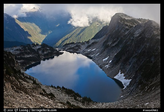 Hidden Lake and clouds, North Cascades National Park.  (color)