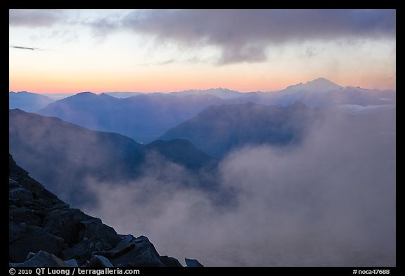 Clouds and ridges at sunset, North Cascades National Park.  (color)
