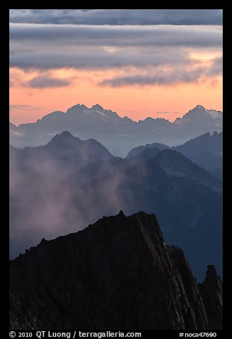 Jagged mountain ridges at sunset, North Cascades National Park.  (color)