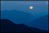 Moon setting over ridges, North Cascades National Park. Washington, USA. (color)