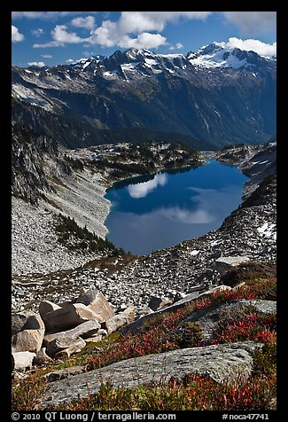 Forbidden, Boston, and Sahale Peak above Hidden Lake, North Cascades National Park.  (color)