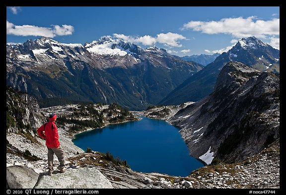 Visitor looking, Hidden Lake, North Cascades National Park.  (color)